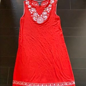 Chelsea & Theodore Sleeveless Embroidered Dress